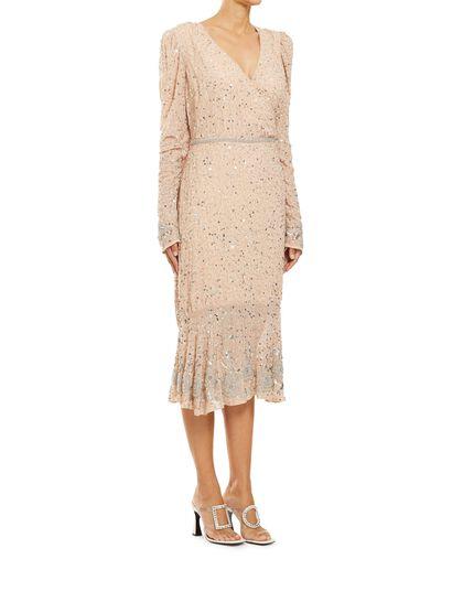 Sequin Ruffle Midi Dress
