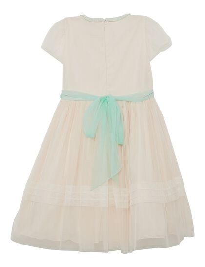 Peach And Off White Tulle Girls Dress