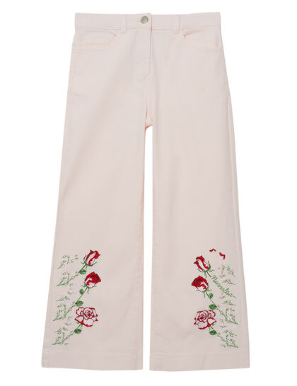 Embroidered Palazzo Jeans
