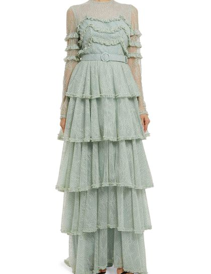 Miranne - Glitter Dot Chantilly Lace Ruffle Gown With Tiered Skirt & Coordinating Belt