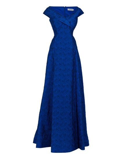 Jacquard Off-The-Shoulder Gown