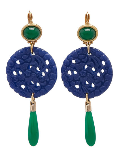 Kjy Small Gold Jade Top/Crvd Lapis/Jade Drop Wire Ear