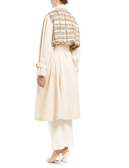 Bouclé-panel Trench Coat