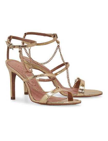 Metallic Sandals With Chain