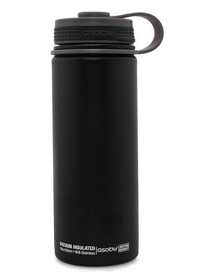 Asobu Alpine Flask Black, Double Wall Stainless Stell Hot And Cold Water Bottle