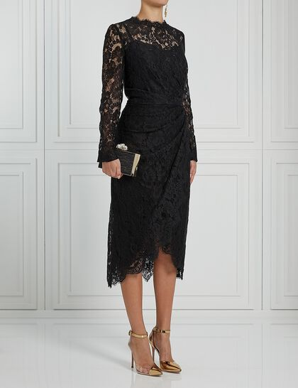 Long Sleeves Drapped Lace Dress