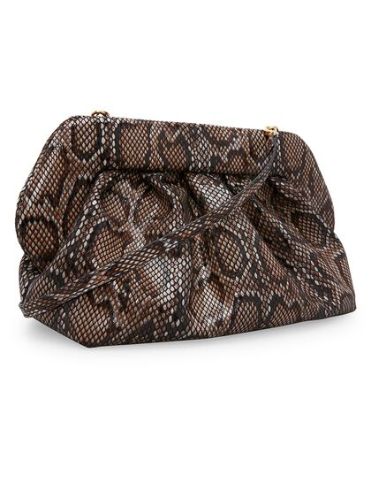 Bios Python-Print Leather Clutch Bag