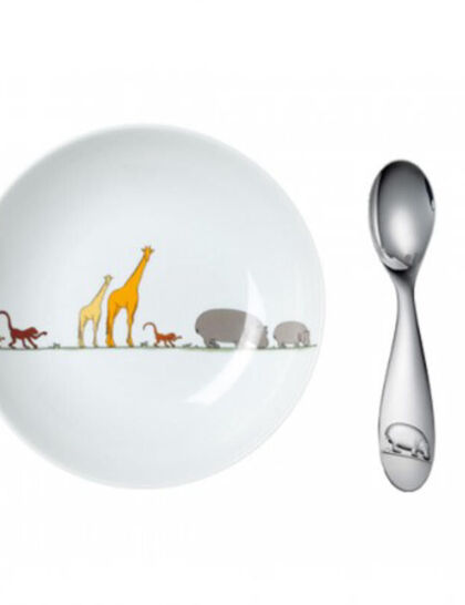 Chs Savane Set Cereal Bowl + Spoon Wht 2Pcs
