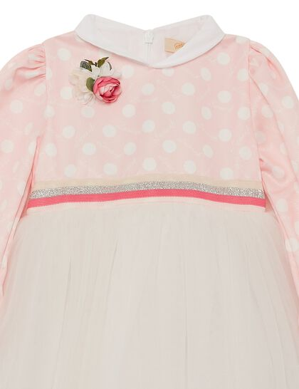 Pink And Off White Tulle Dotted Girl Dress
