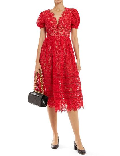Fine Cord Lace Midi Dress