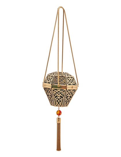Lantern Shaped Clutch Has Islamic Pattern In The Gold Plated Brass With A Sp Stone Tassle