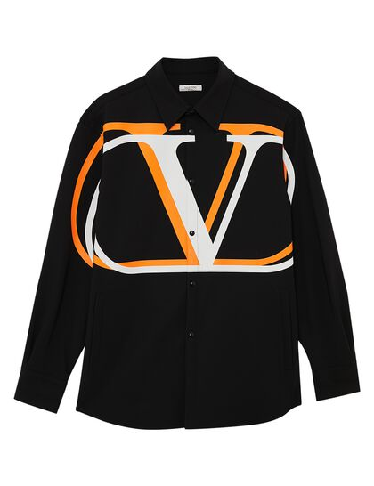 Short Pea Coat With VLOGO Print