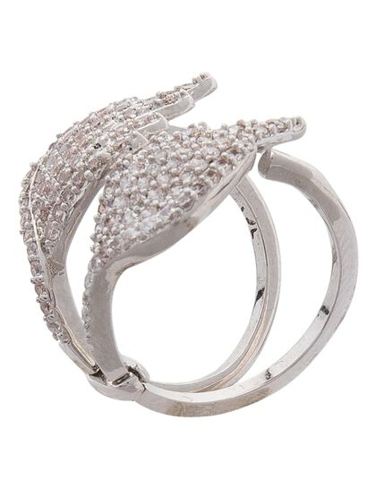 1.25 Cttw Cz Pave Angel Wing Stackable Ring