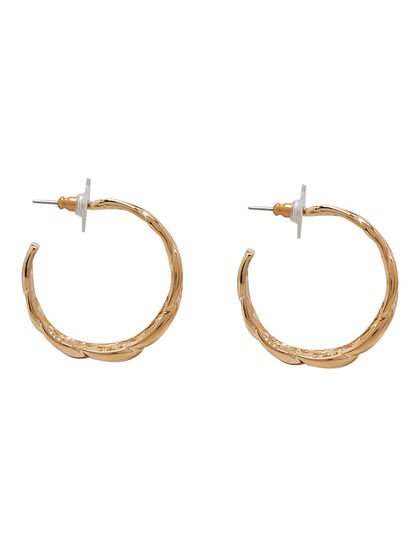 Kjy 1 1/4 Polished Gold Link Hoop Post Earring