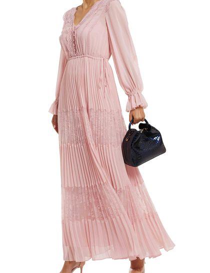 Chiffon Lace Trimmed Maxi Dress
