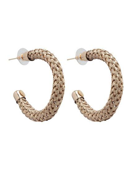 Kjy 1.5 X1 3/4 Gold Braided Tube Post Hoop Earring