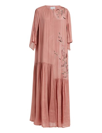 Pink Crep Kaftan With Flower