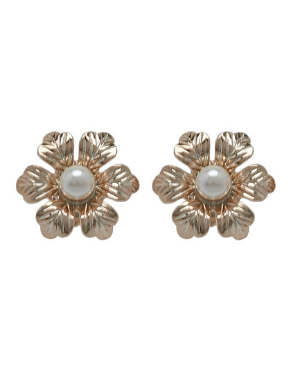 Post Flower. Brass, Gold Plated & Swarovski Pearls.