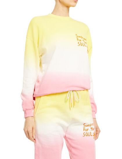 Swt006b-Ss21 American Co Jersey Pink/Yellowdip Dye Sweatshirt W/ Vinyl Application