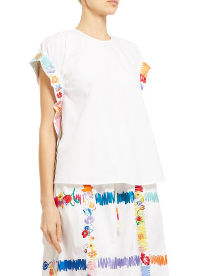 Top With Floral Embroidered Ties