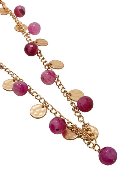 Kjy 36 Gold Chain Cherry Agate Bead/Satin Gold Coin Neck