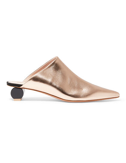 Alis 22349 - Metallic Rose Gold Pointed Toe High-Necked Mule On Cylindrical Heel
