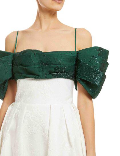 Jacquard Midi Dress With Draped Sleeves And Voluminous Skirt