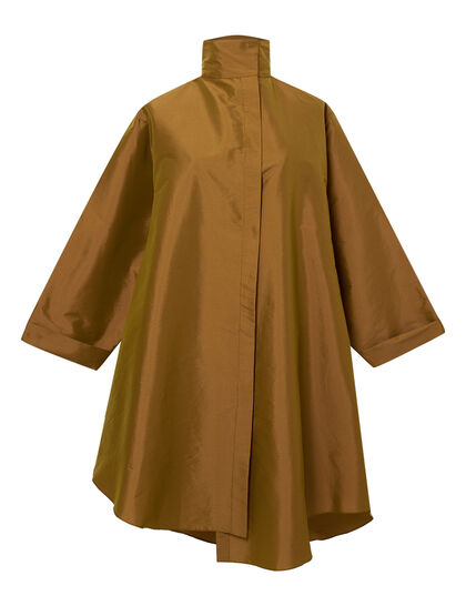 Light Taffetah Oversize Shirt With Botton Neck With Overall Lab Skirt Big Pocket On The Side