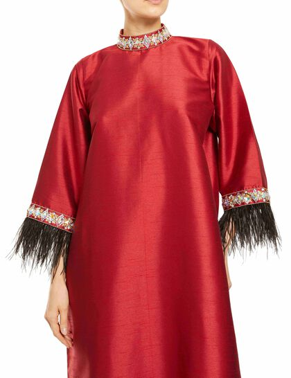 High Neck, Embroidery On The Neck And Sleeves, Feathers At The End Of The Sleeves