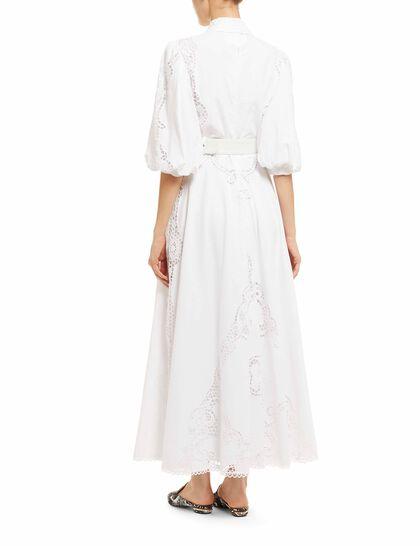 Pavlina - Linen Puff Sleeve Shirtdress With Greek Reticella Lace Detail & Coordinating Belt