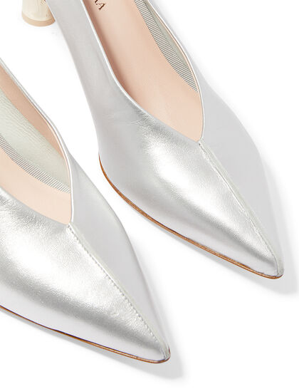 Annavy 22900 - Metallic Silver Pointed Pump On Cylindrical Laminate Heel