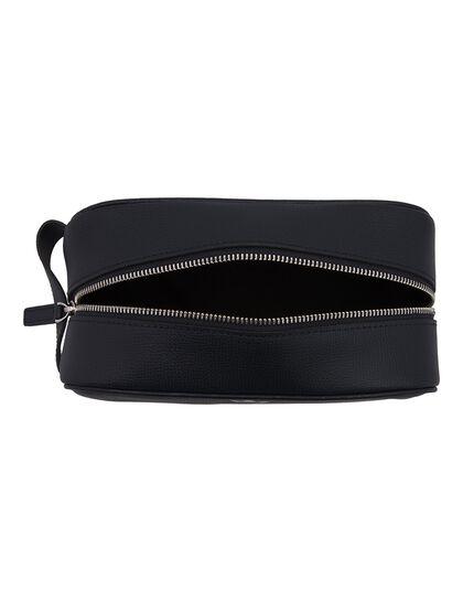 Award Wash Bag - Italian Leather Navy Blue