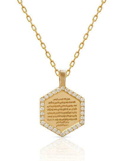 Medallion Necklace Small Diamond Hexagon Frame