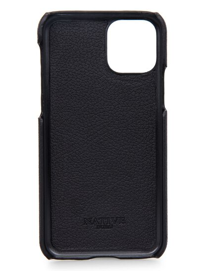Iphone 11 Pro Case In Camel Hide In Black W Purple