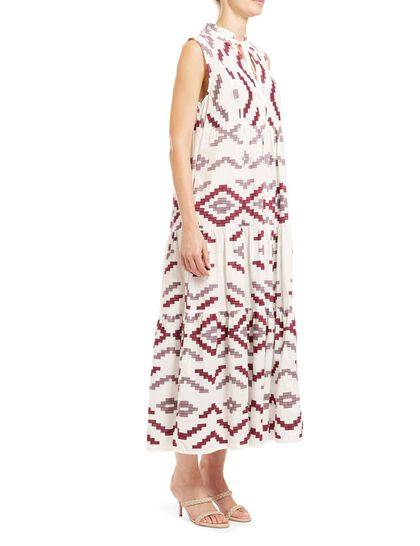 Sleeveless Long Dress 100% Cotton, Embroidery Thread 100% Polyester
