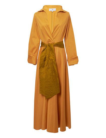 High Neck Pure Cotton Midi Dress
