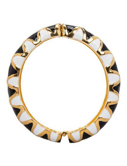 Gold/Black And White Enamel Hinge Bracelet