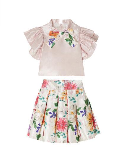 Satin Top & Floral Print Skirt Set