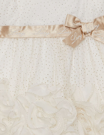 Dress Organza Tulle Glitter Dots Flower Bottom