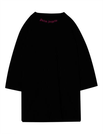 Doubled Logo Over Tee Black Fuchsia