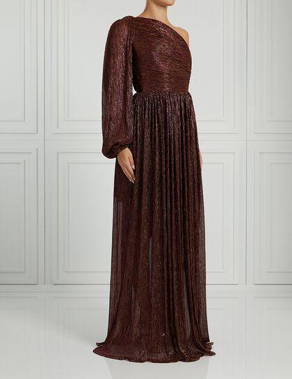 Metallic Jersey One-Shoulder Gown