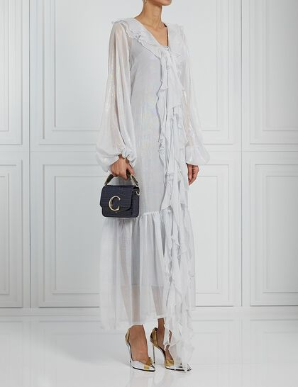 Button Down Dresswith Frilled Neckline And Dramatic Sleeves Comes With Slip Dress