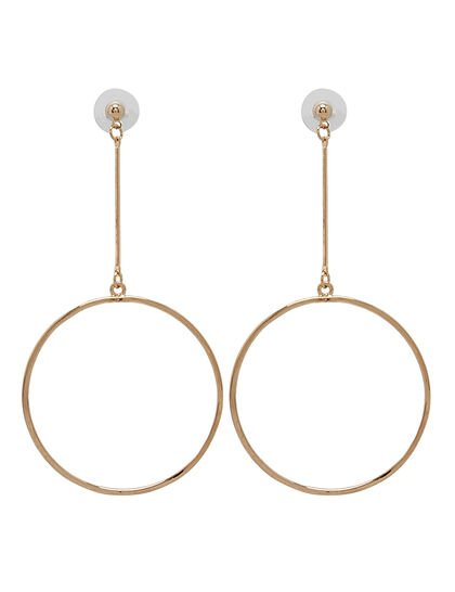 Kjy Polished Gold Long Post With 52mm Circle Drop Prcd Earring