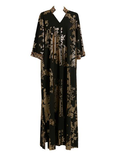 Black Kaftan With Gold Flowers
