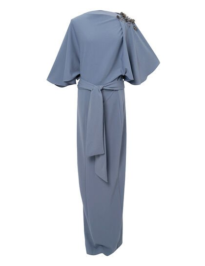 Stretchable Crepe With Embroidery On The Shouder With Maxci Slit Front With Overall Stitched Belt