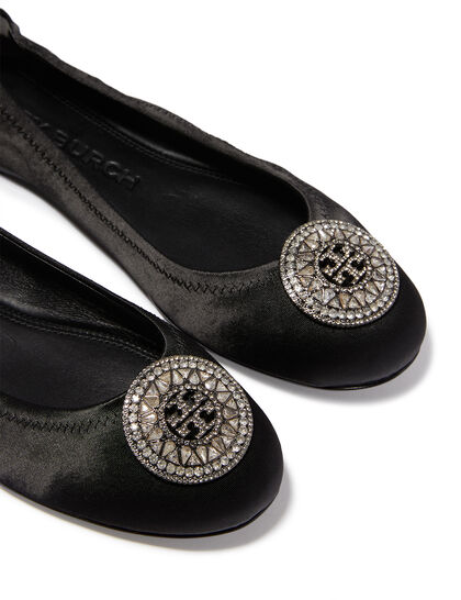 Crystal Logo Ballet Pumps