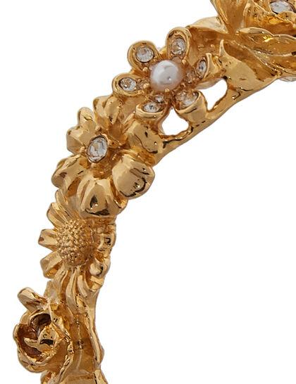 Kjy Gold/Crystal Flower Brclt