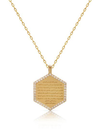 Medallion Necklace Large Diamond Hexagon Frame