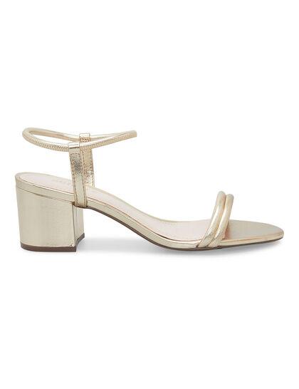 Strings Block Heel Gold Sandal