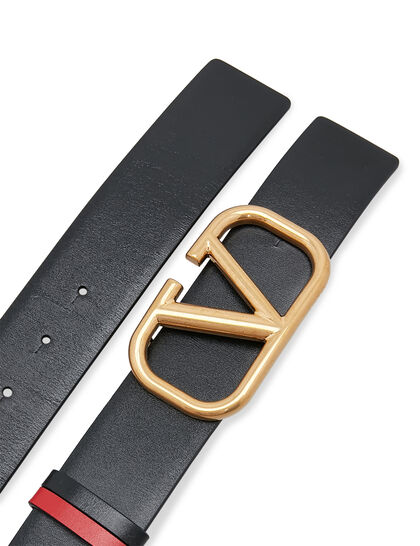 VLOGO Reversible Leather Buckle Belt